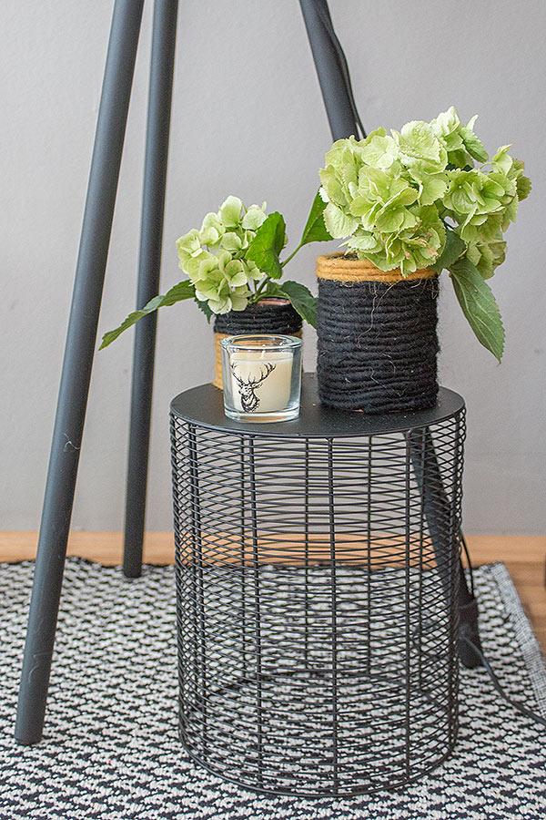 DIY Blumenvasen mit Hortensien
