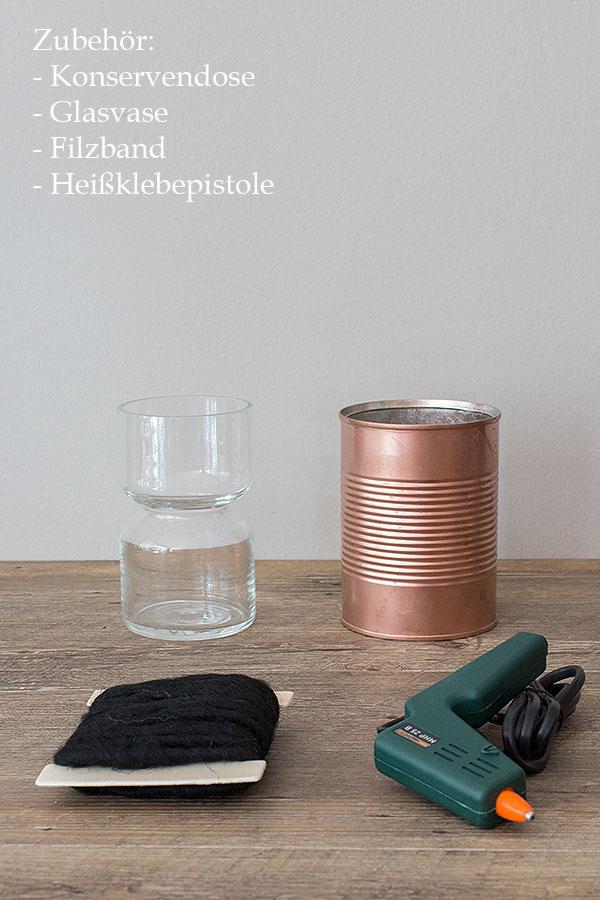 Zubehör DIY Blumenvase aus Konservendose
