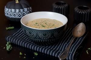 geröstete Blumenkohlsuppe mit Cheddar