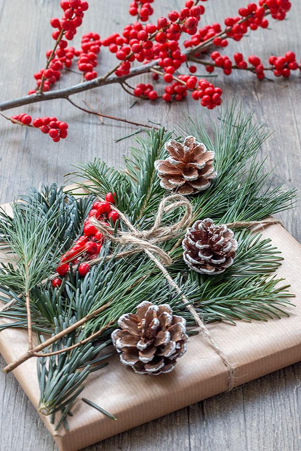 Geschenke mit Tanne, Kiefer und Ilex dekorieren