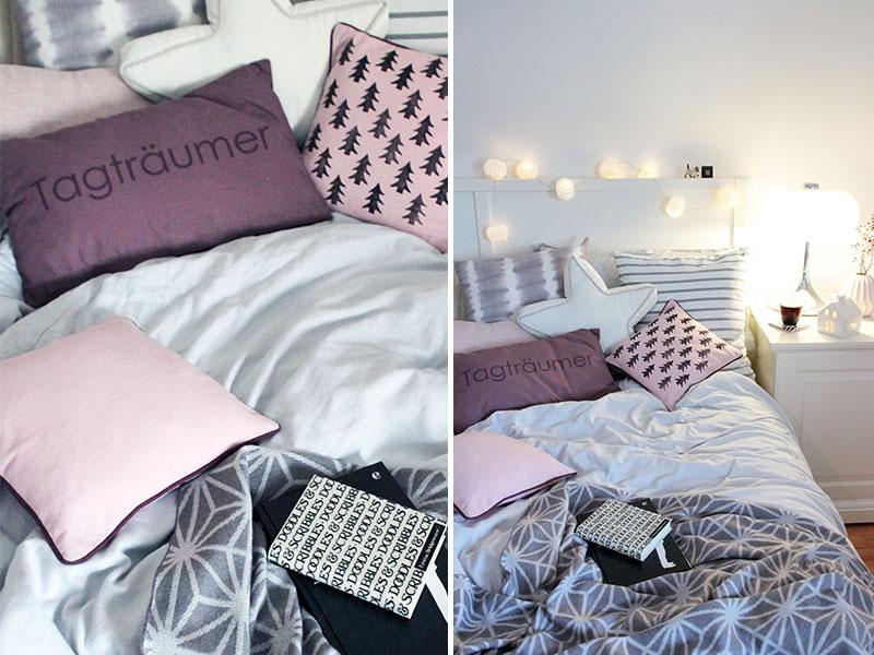 schlafzimmerdeko kissen mit diy tannenbaumprint sch n. Black Bedroom Furniture Sets. Home Design Ideas