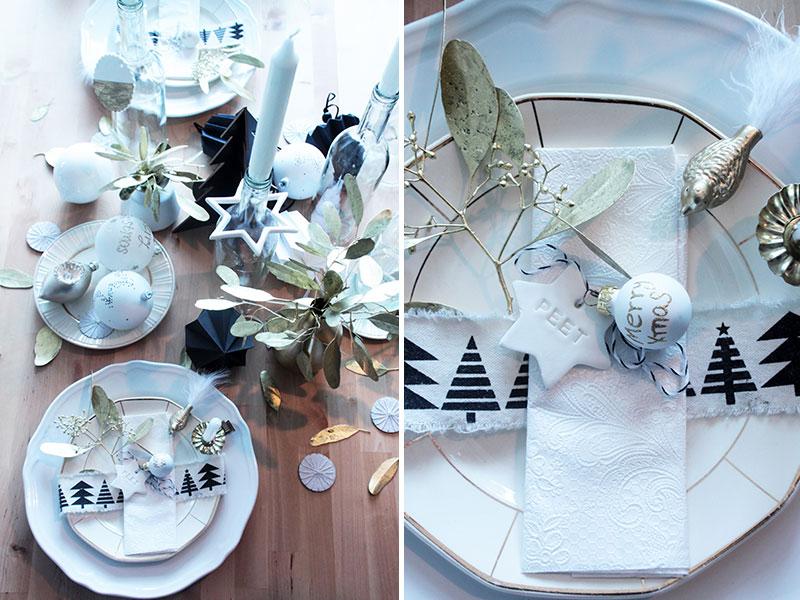 Weihnachtstischdeko mit diy platzkarten in sternform - Einfache weihnachtstischdeko ...