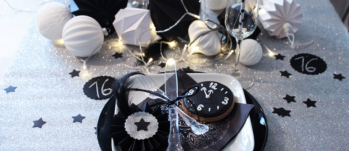 tischdeko f r silvester in schwarz silber von depot sch n bei dir by depot. Black Bedroom Furniture Sets. Home Design Ideas