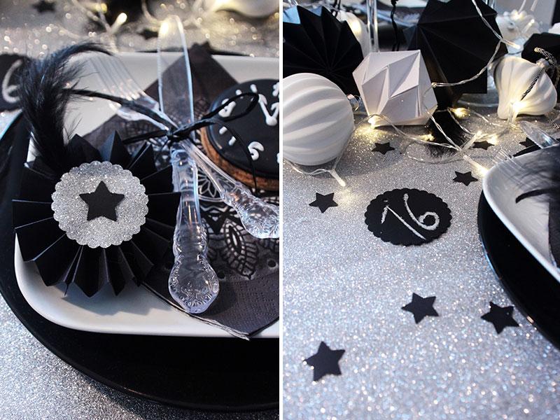 Tischdeko-für-Silvester-in-Schwarz-Silber