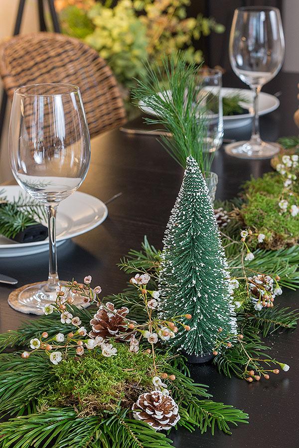 weihnachtliche Tischdeko mit Tanne, Zapfen und Moos