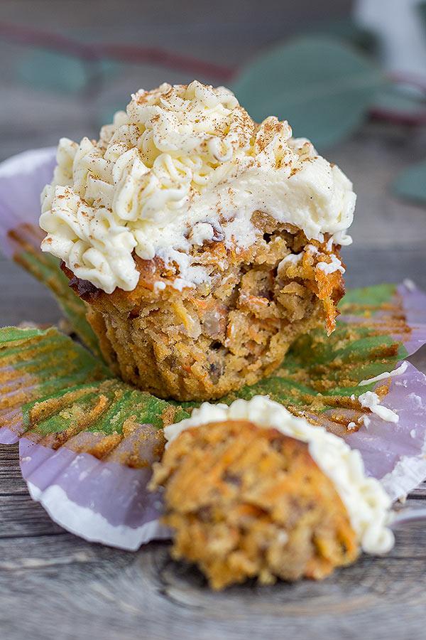 Karottenkuchen Muffins mit Frosting