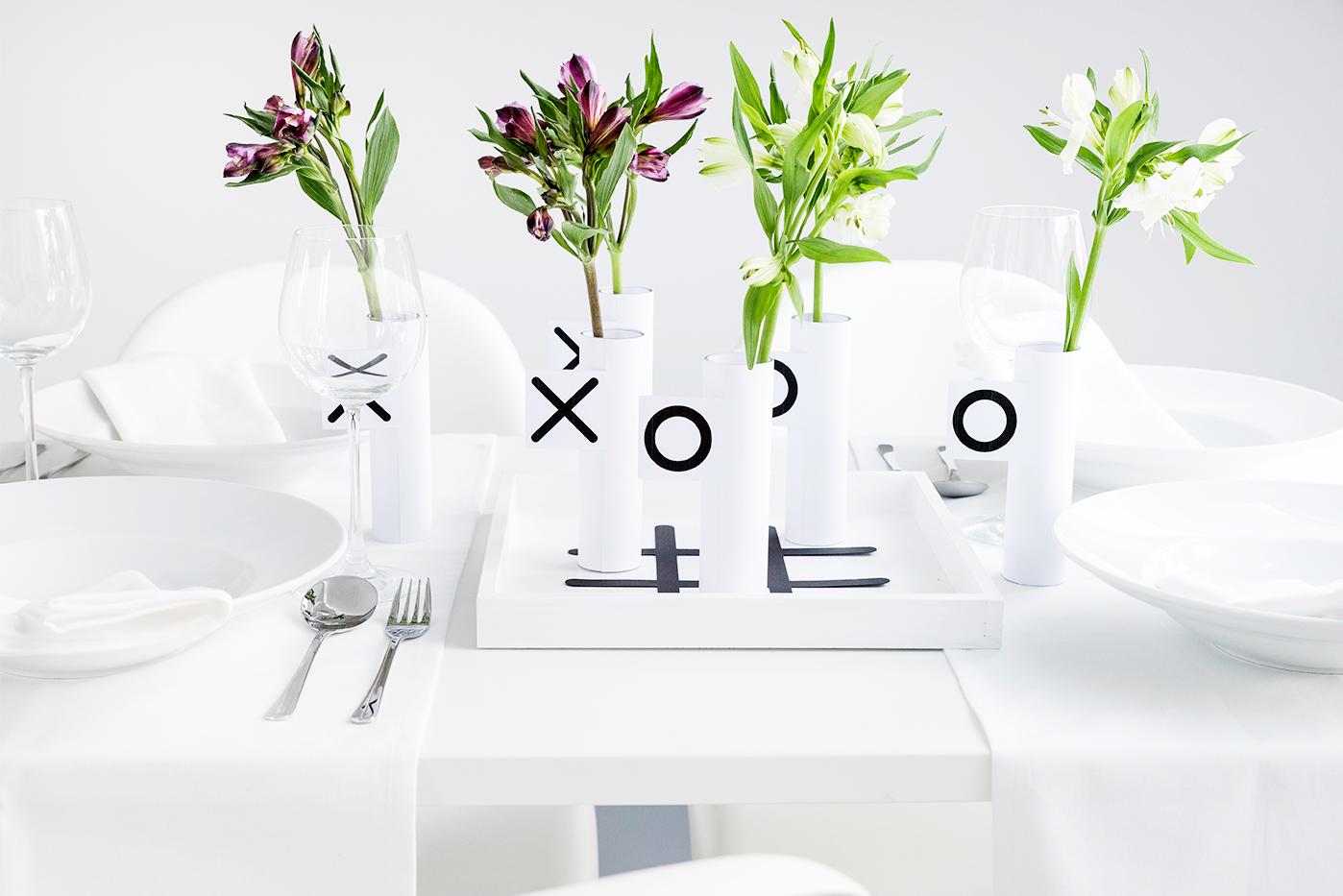Tischdeko mit Glasvasen