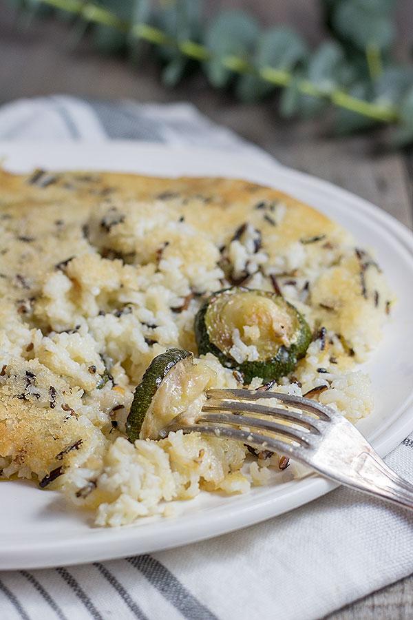 Reisauflauf mit Zucchini und Parmesan