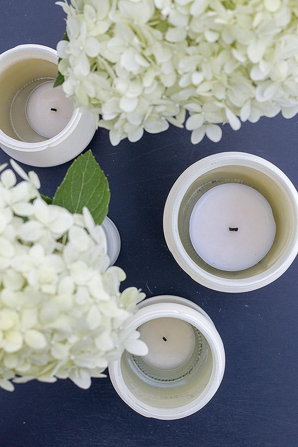 DIY Teelichthalter aus gebrauchten Marmeladengläsern