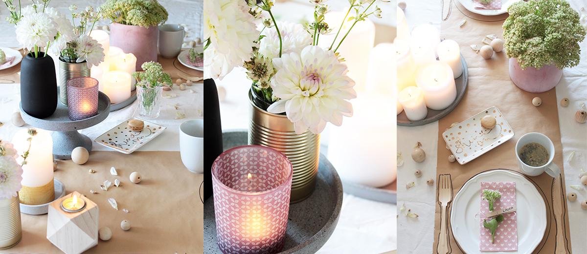 Tischdekoration in Rosa mit Beton Deko Details
