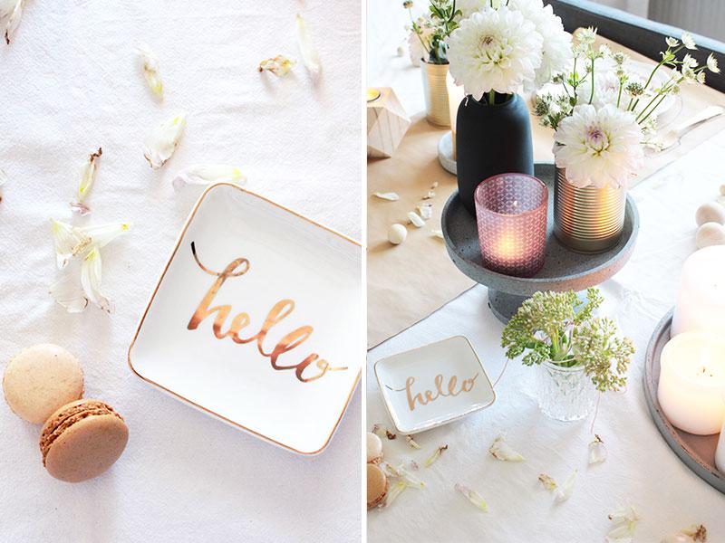 Tischdeko-in-Gold,-Rosa-und-Beton