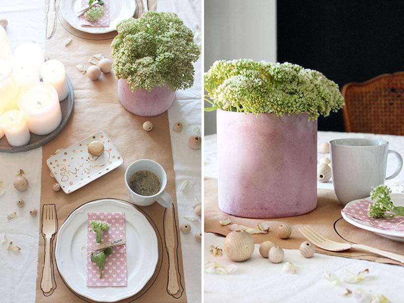 tischdekoration in rosa mit beton deko details sch n bei. Black Bedroom Furniture Sets. Home Design Ideas