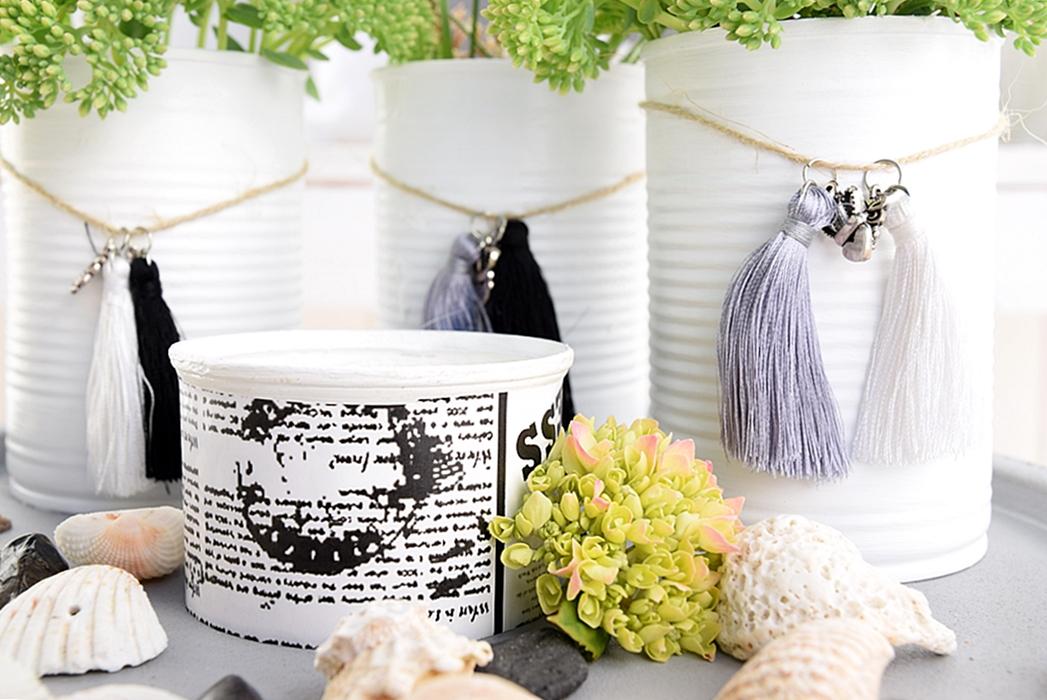 vasen aus dosen basteln und mit miniquasten von depot verzieren 10k sch n bei dir by depot. Black Bedroom Furniture Sets. Home Design Ideas