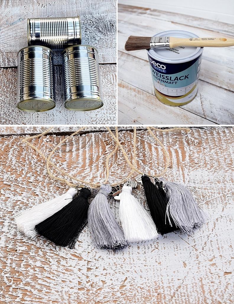 vasen aus dosen basteln und mit miniquasten von depot verzieren 19k sch n bei dir by depot. Black Bedroom Furniture Sets. Home Design Ideas