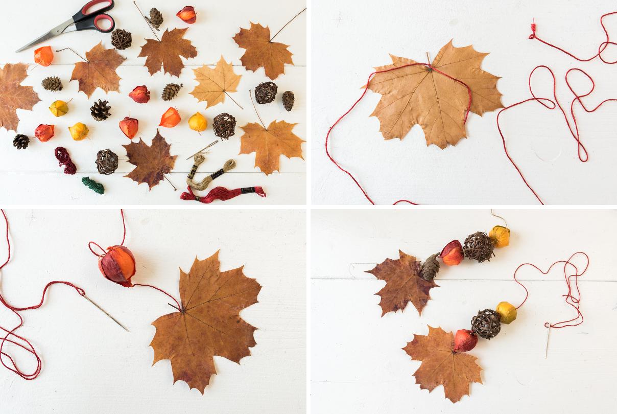 Selbst gebaute Hängelampe aus einem Ast mit Laternen von DEPOT als Deko für den Herbst