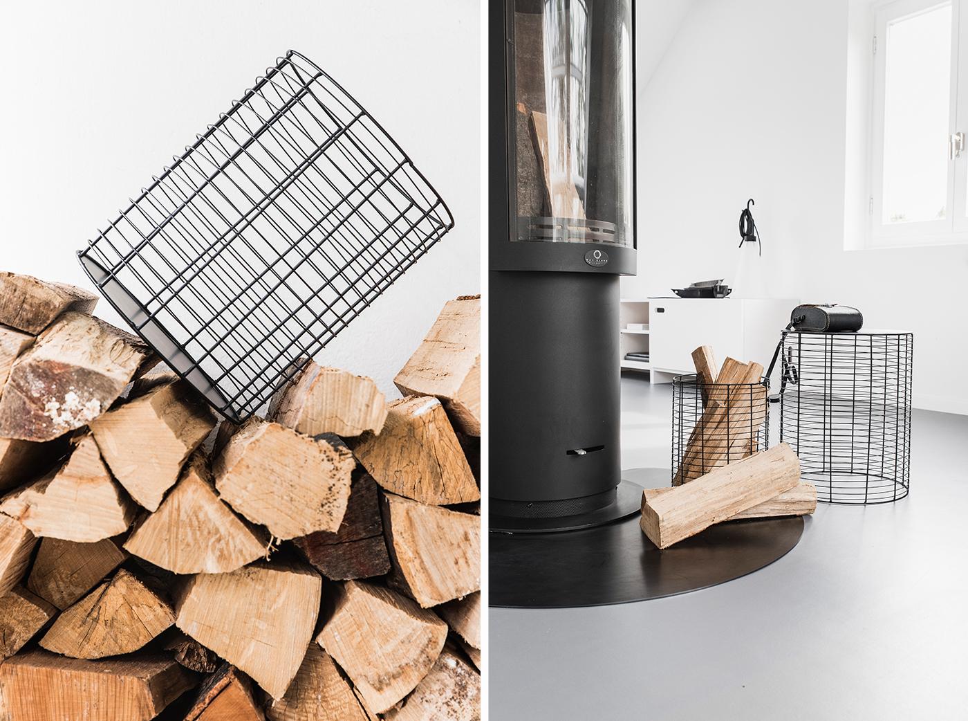 kaminzeit beistelltisch oder korb f r feuerholz sch n. Black Bedroom Furniture Sets. Home Design Ideas