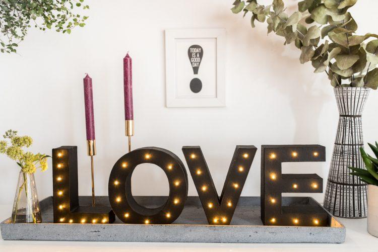 Anleitung für DIY Leuchtbuchstaben aus Karton im vintage Look
