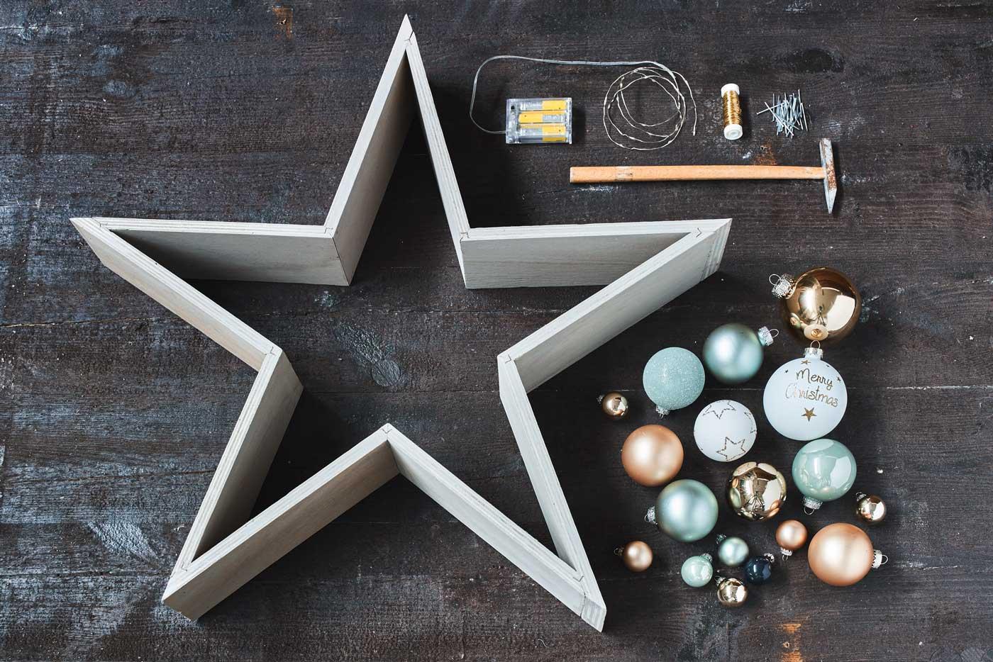 Stern und benötigte Produkte auf den Boden legen