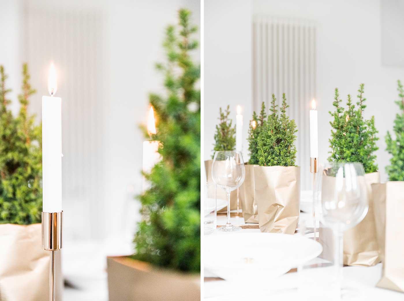 Weihnachtliche Tischdeko in Gold.