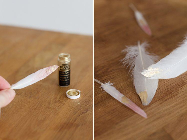 Ostertischdeko in Pastellfarben mit DIY Goldfedern