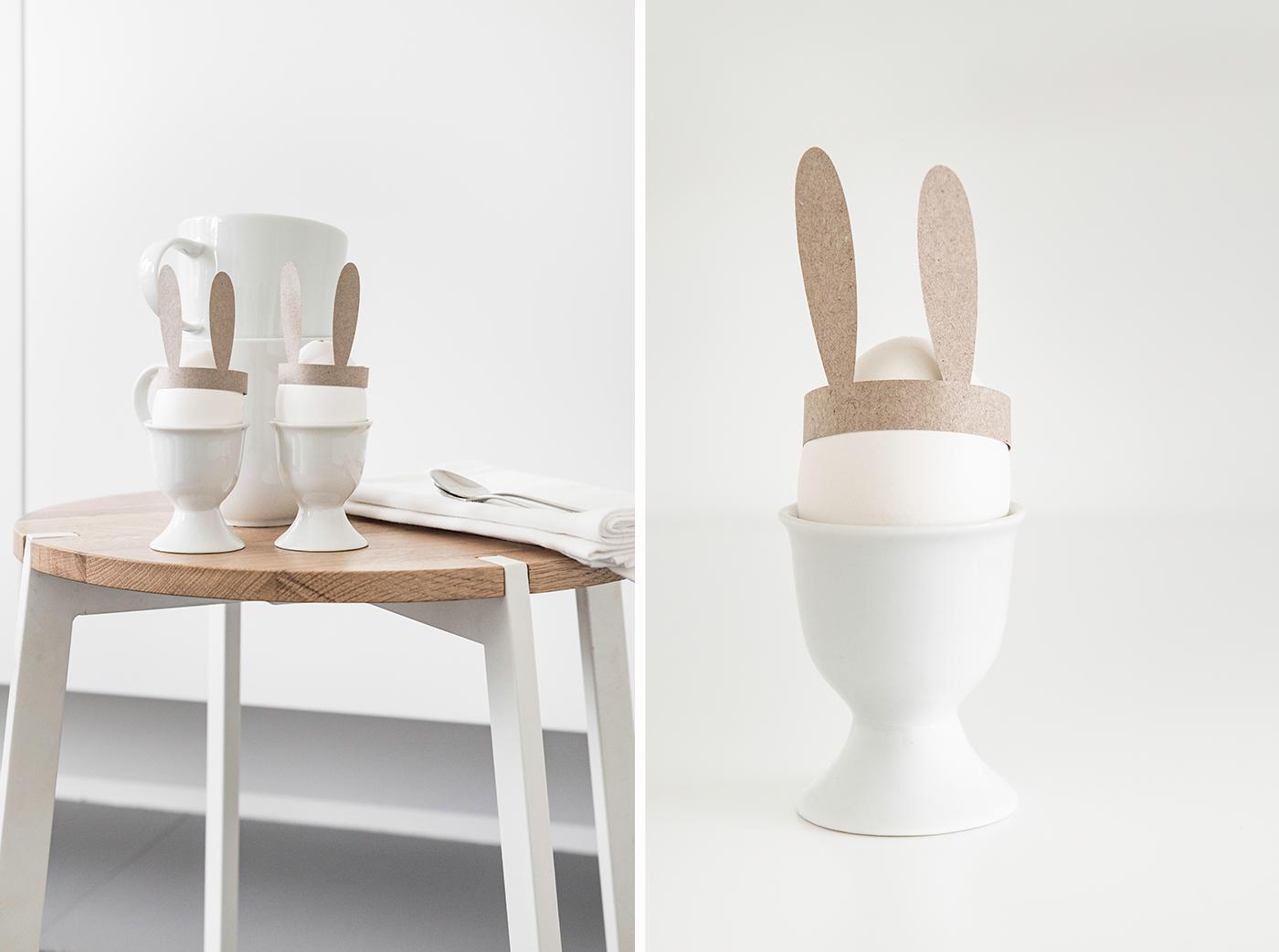 Ostereier gestalten - das Frühstücksei mit Hasenohren.