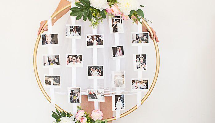 Ein hulahoop voller fotos als geschenk zur hochzeit - Hochzeit schlafzimmer dekorieren ...