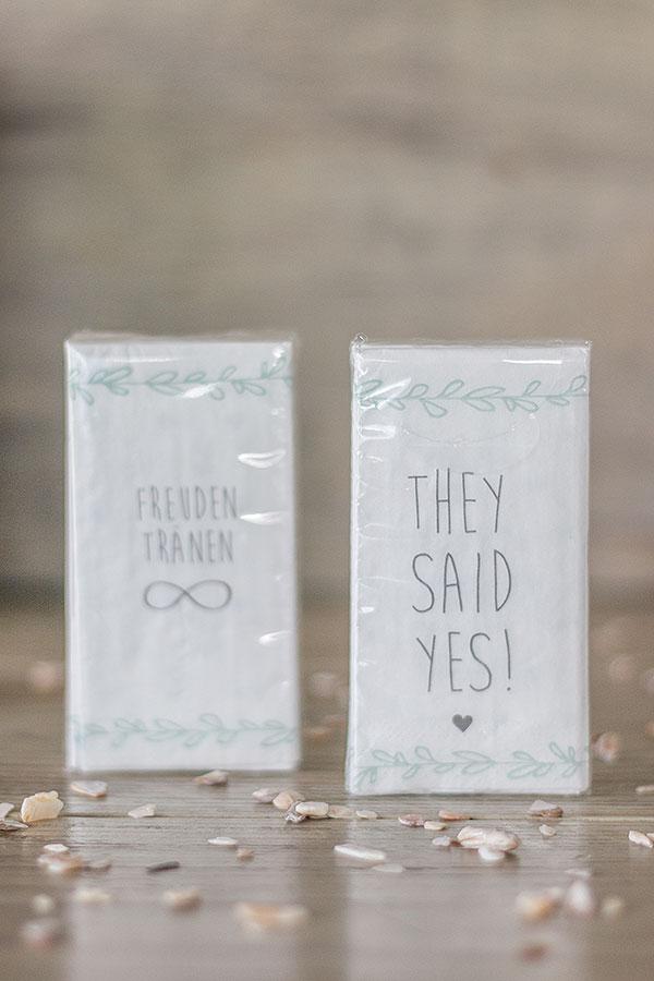 bedruckte Taschentücher zur Hochzeit verschenken