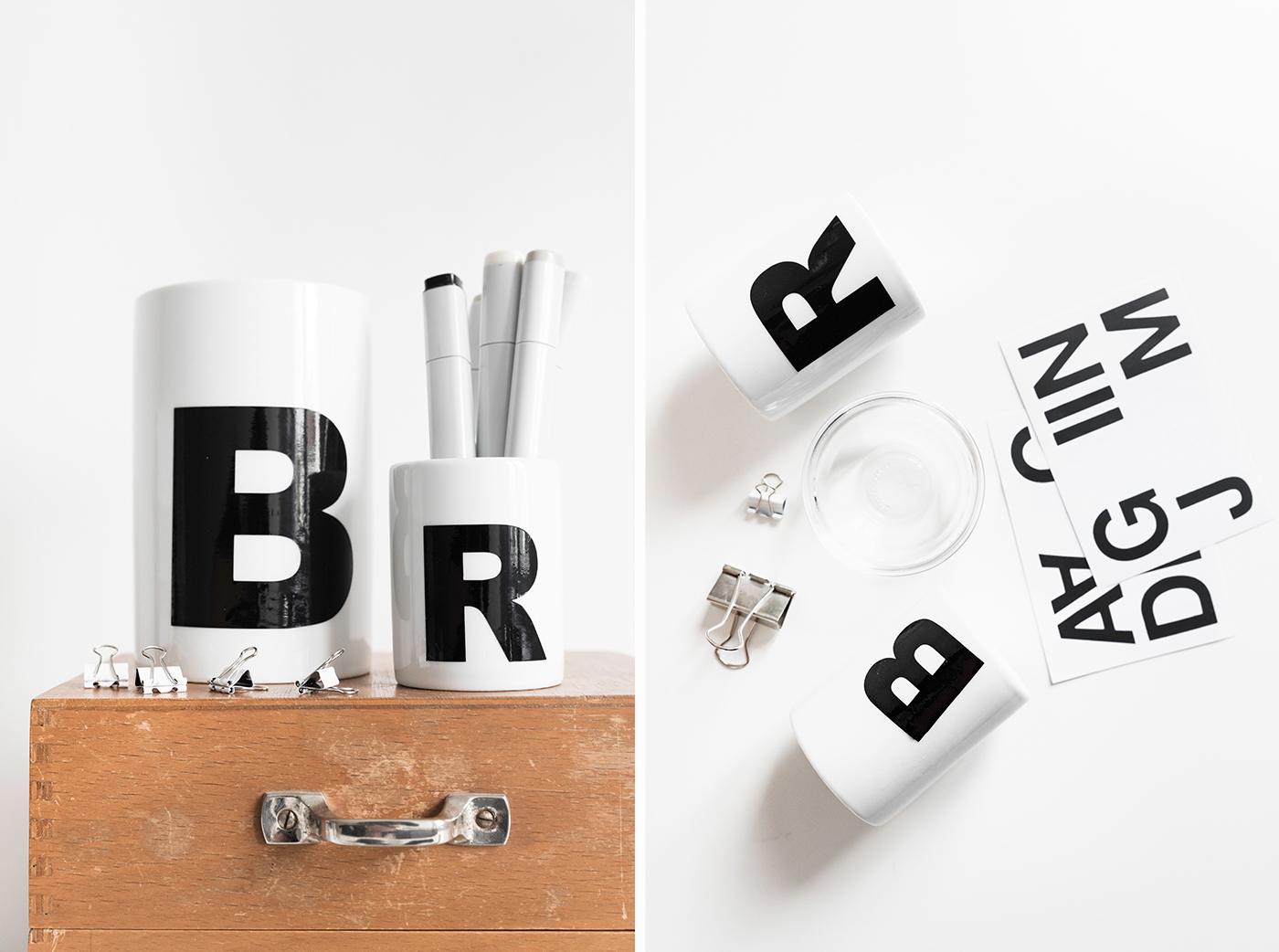 Porzellan mit Buchstaben bekleben.