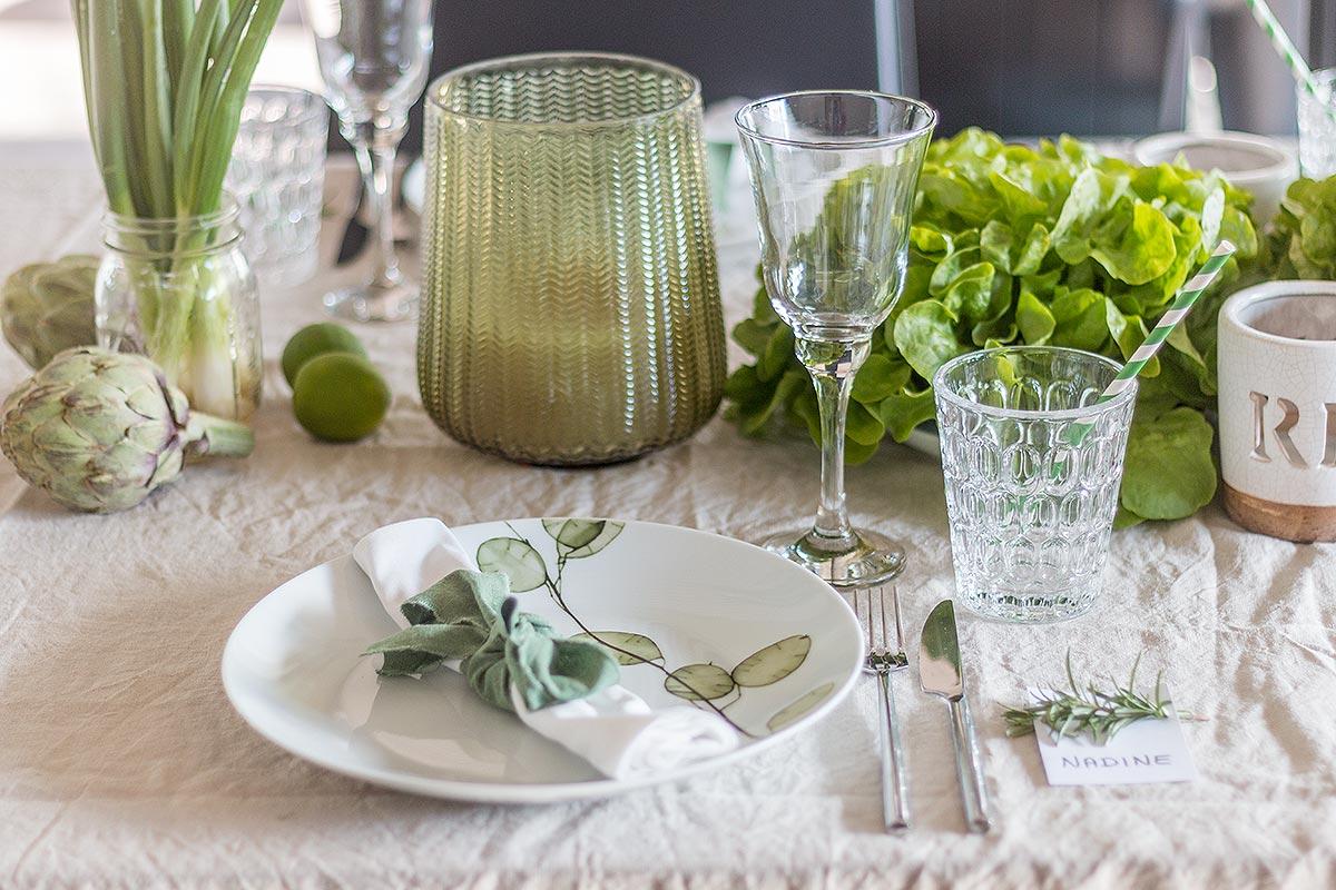Greenery Tischdeko 2017 mit grünem Gemüse
