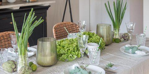 Greenery Tischdeko mit Gemüse in Grüntönen