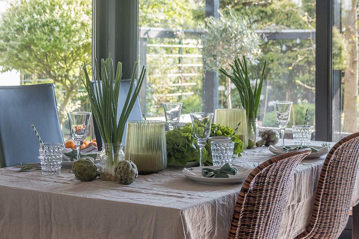 Greenery Tischdeko mit Gemüse