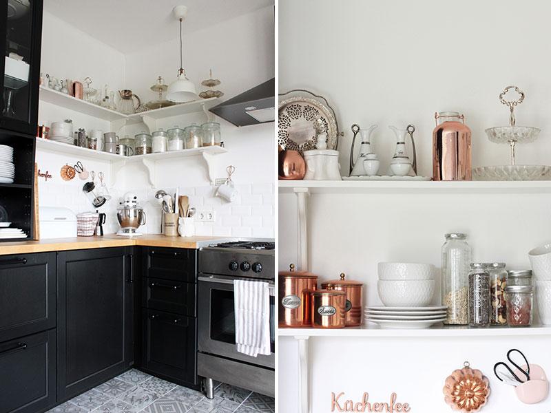 Skandinavische-Küche-in-Schwarz-mit-Akzenten-in-Kupfer