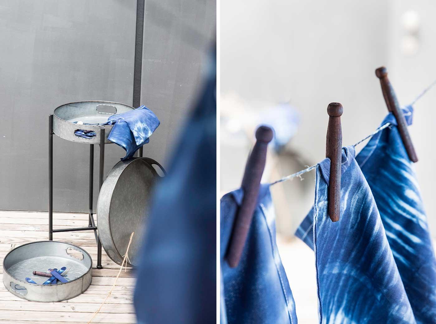 Servietten mit der Shiboritechnik färben.
