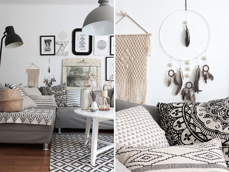wohnzimmer im boho look mit diy traumf nger sch n bei. Black Bedroom Furniture Sets. Home Design Ideas