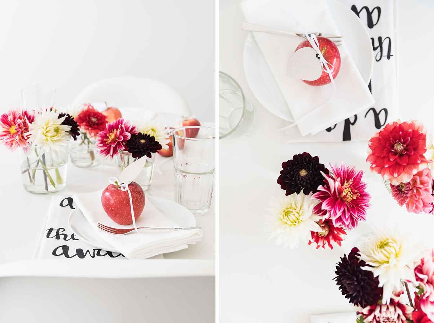 Tischdeko für ein Apfelfest.