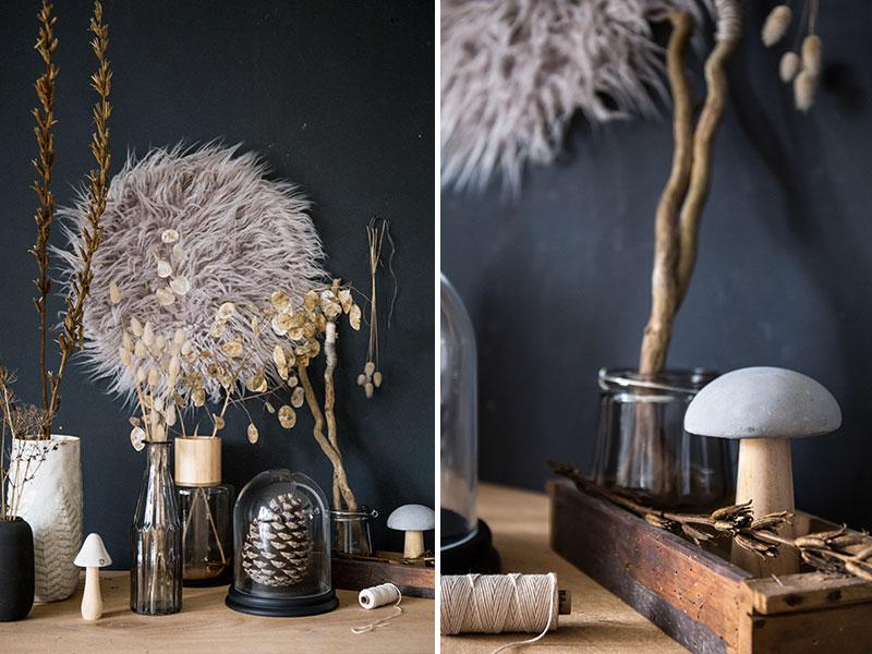 Herbstdeko-mit-Vasen-im-natürlichen-Stil