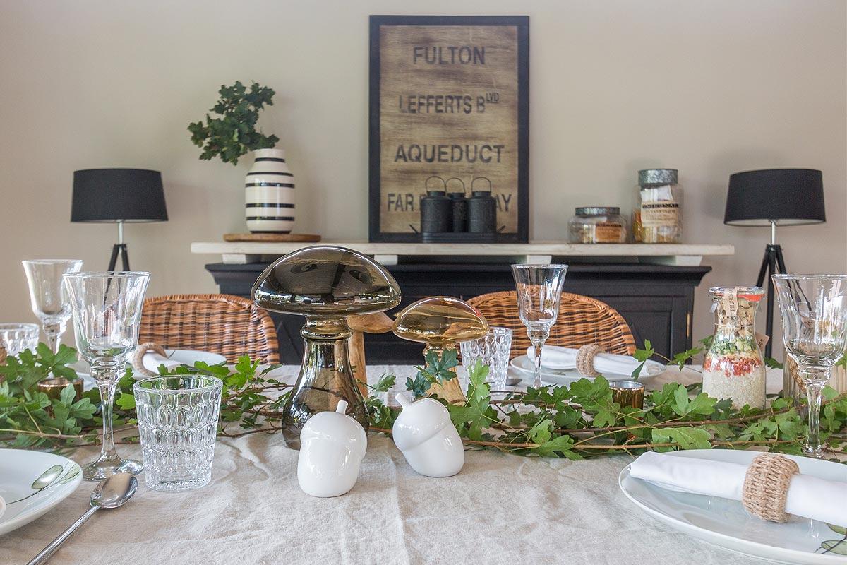 Pilzrisotto und herbstliche deko aufgetischt - Herbstdeko fur den tisch ...