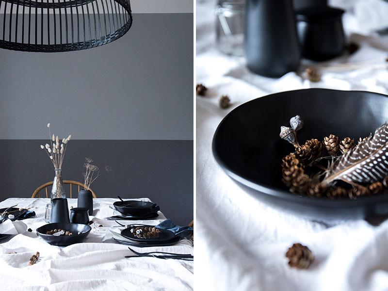 schlichte-Tischdekoration-mit-schwarzem-Tongeschirr