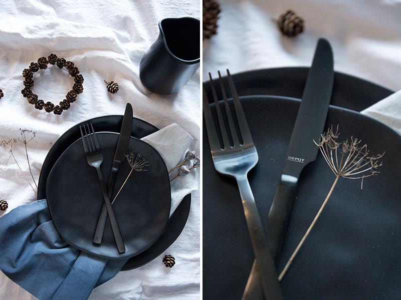 schwarzes steingutgeschirr f r eine schlichte gem tliche. Black Bedroom Furniture Sets. Home Design Ideas