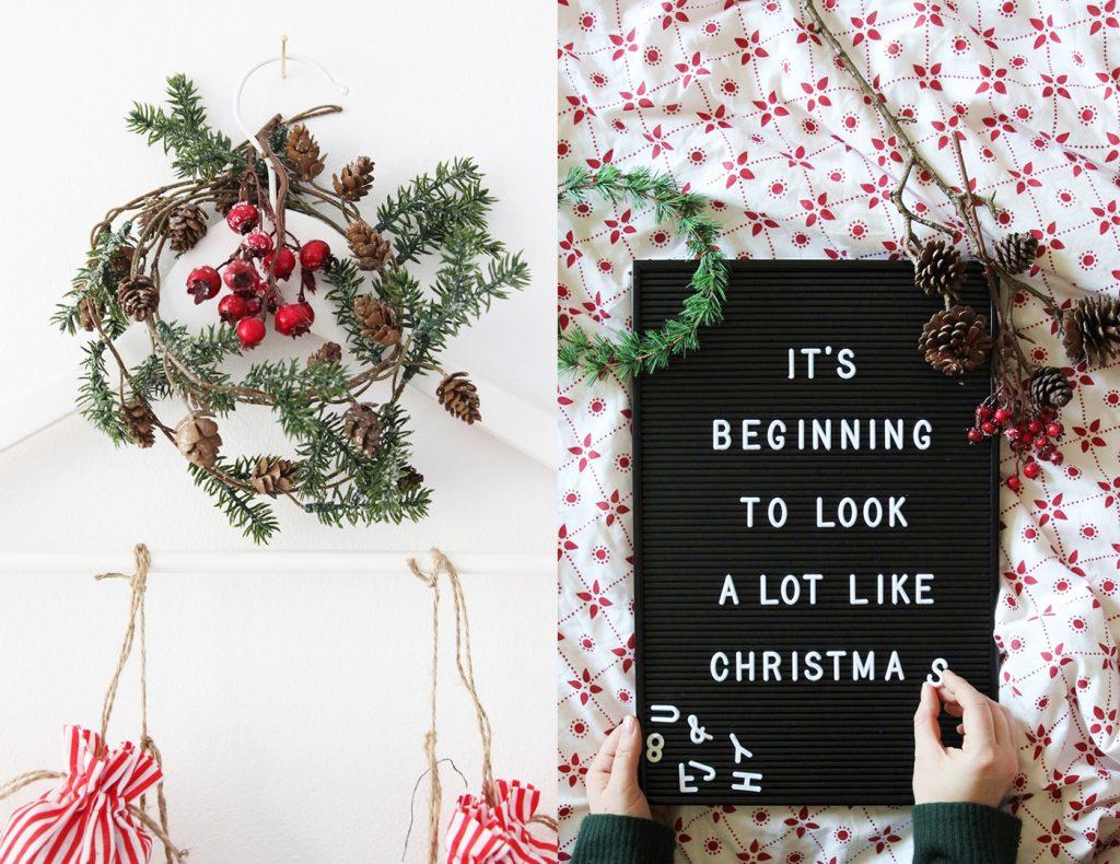 Eine Tannengirlande schmückt den Kleiderbügel, an welchem ihr die Stoffsäckchen befestigt und das Memoboard verbreitet zusätzliche Weihnachtsbotschaften.
