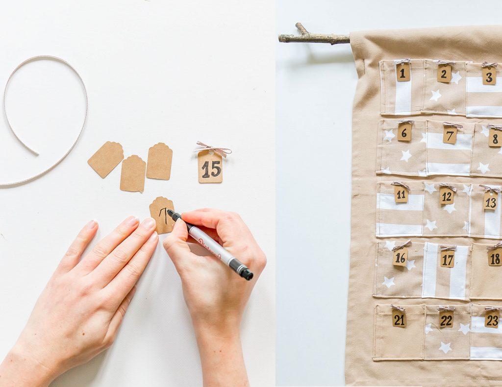 Auf Papier schreibt ihr die Nummern für den Adventskalender und klebt diese fest.