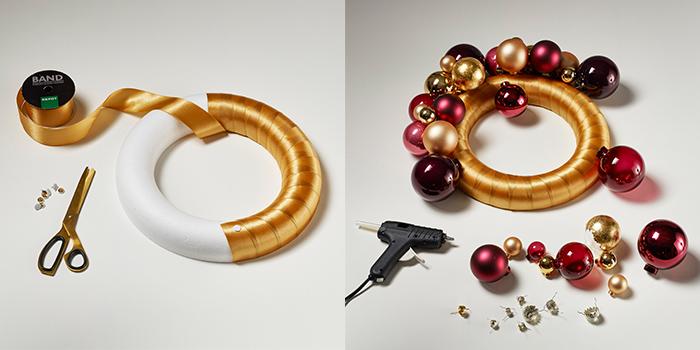 Erst wird der Styropor-Ring mit Geschenkband umwickelt, anschließend die Kugeln angeklebt.