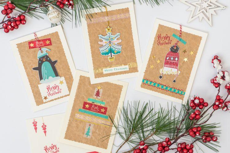 Weihnachtskarten basteln glitzernd oder im vintage look - Niedliche weihnachtskarten ...