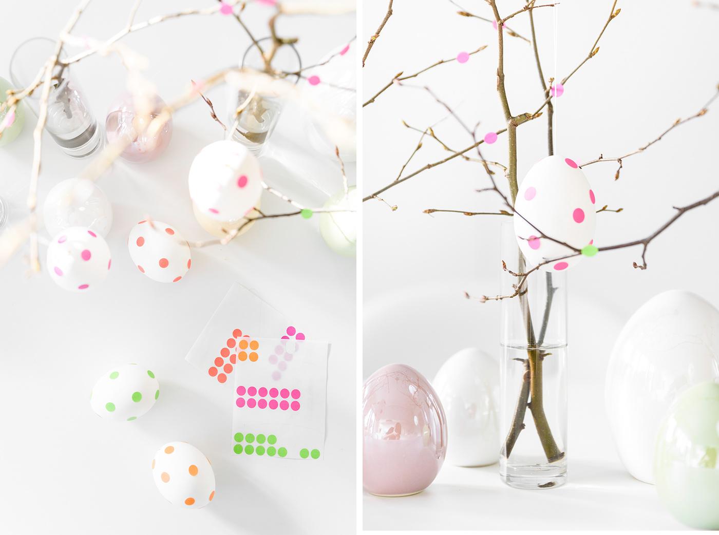 Eier bekleben - DIY Osterdeko