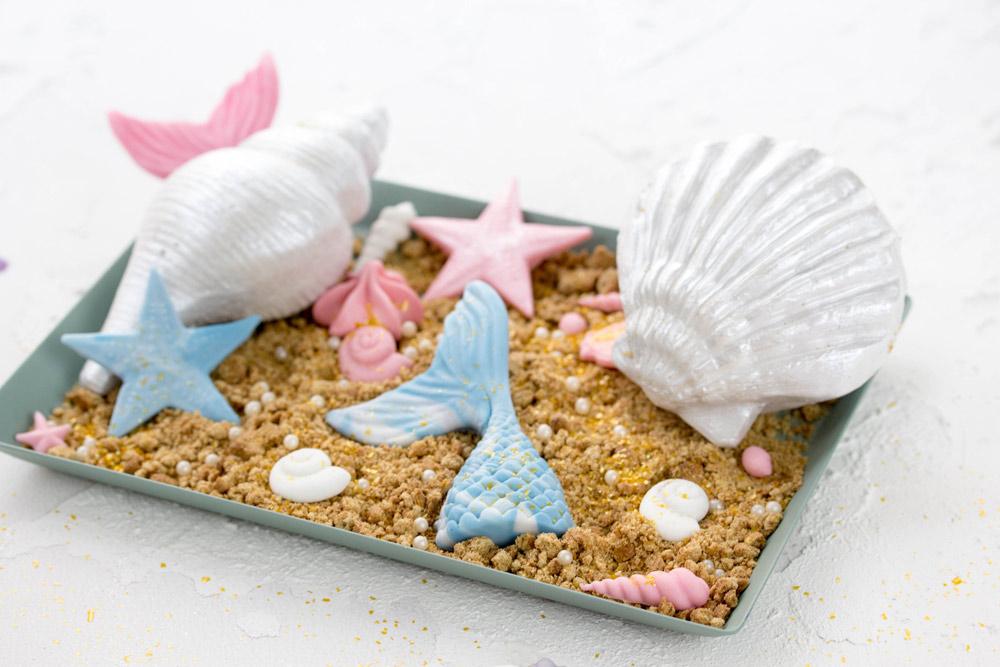 Meerjungfrauentorte Kindergeburtstag - Muscheln und Meerjungfrauenschwanz