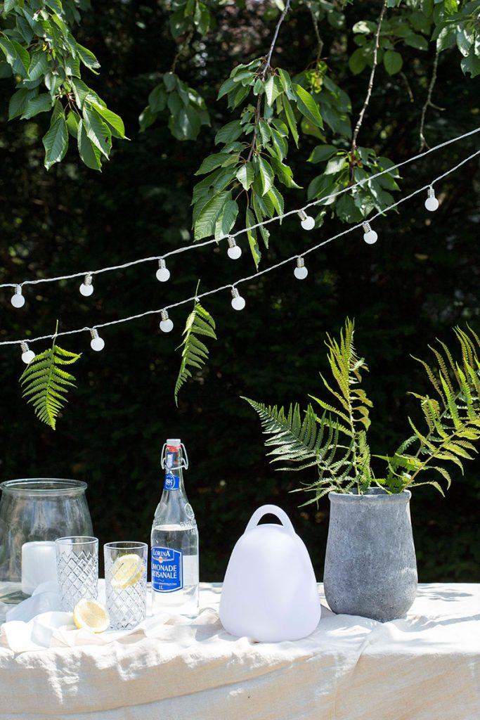 natuerliche-partydeko-mit-Farn-und-lichterketten