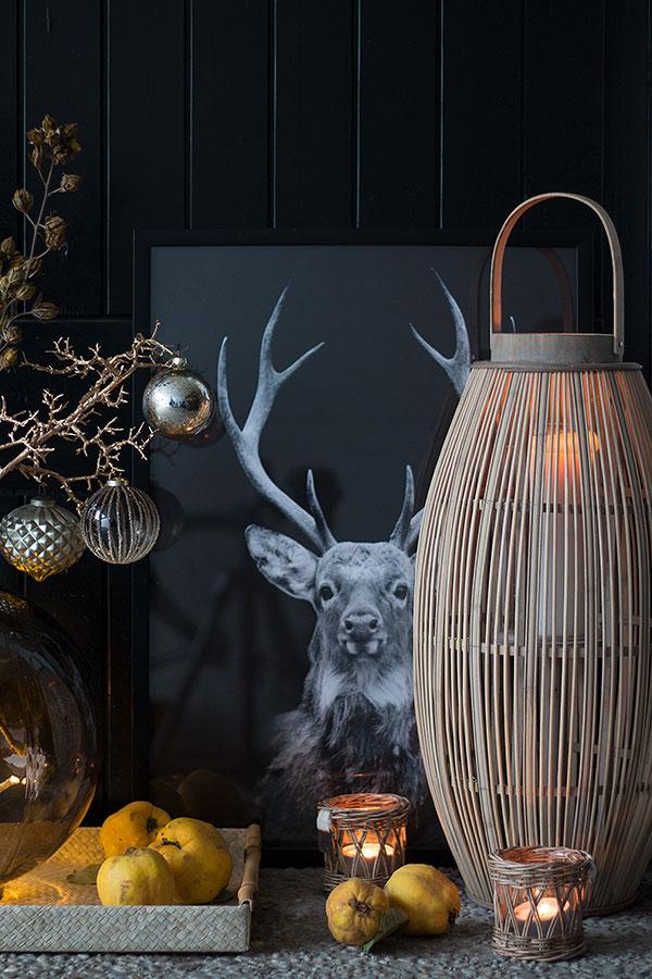 Hauseingang winterhaft weihnachtlich mit Winterast und Windlichtern geschmückt