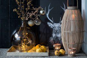 geschmückter Winterast läutet im Hauseingang die Weihnachtszeit ein