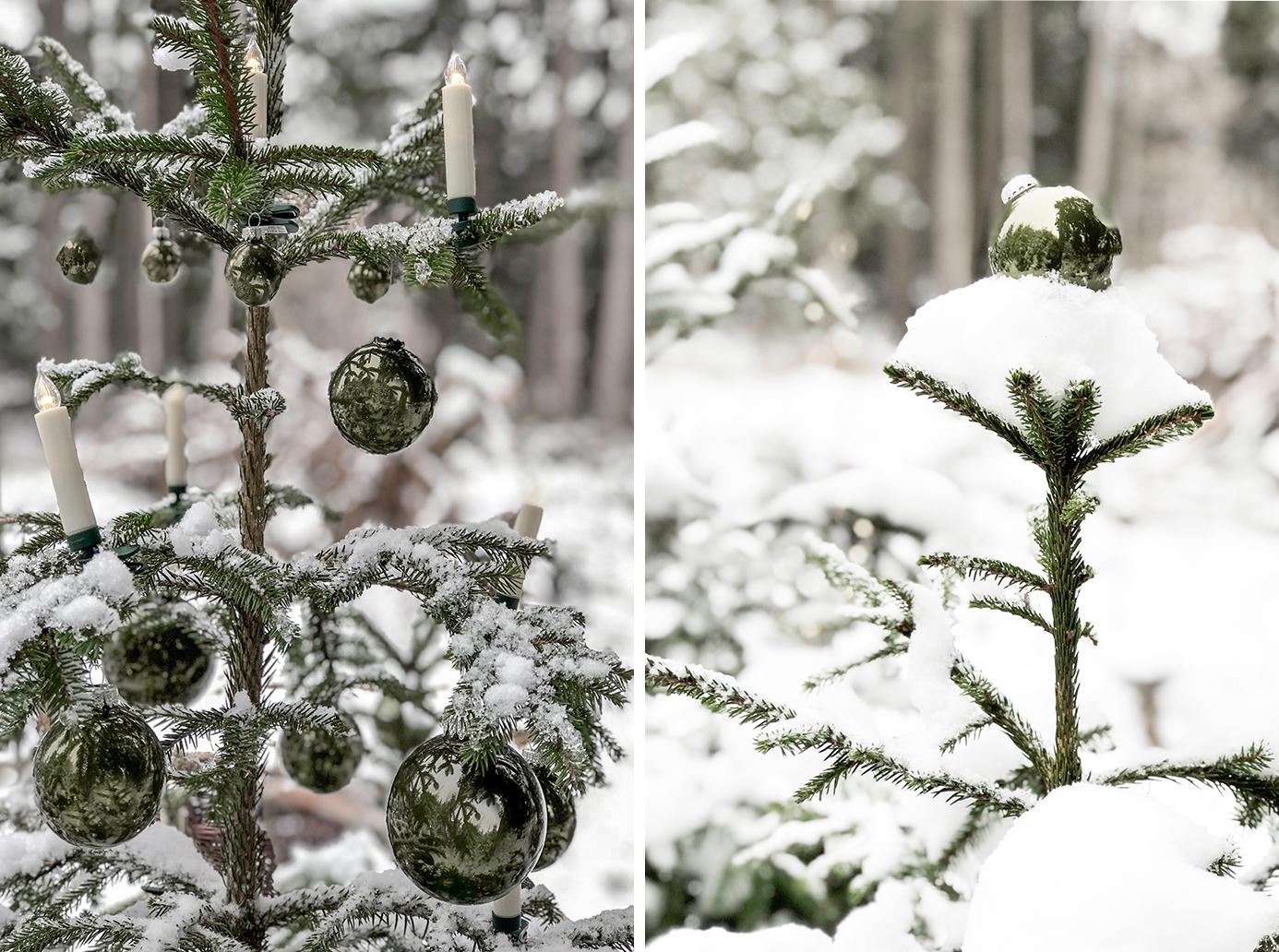 Einen Outdoorbaum schmücken für die Adventsfeier im Freien!