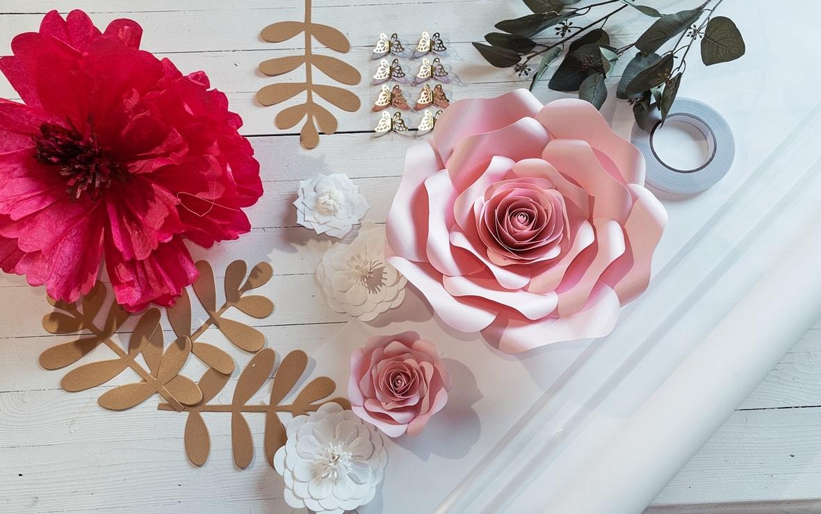 Materialien für eine Flowerwall
